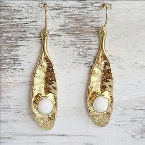 Dangle Earrings 14k Gold White Howlite